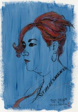 "County Fair Taco Seller, ink, acrylic, watercolor, 7x5"""