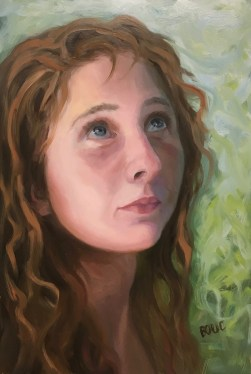 """Forest Girl #2-C, Oil Painting on Mylar, 12x8"""""""