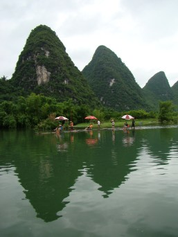 Bamboo rafts floating down the river