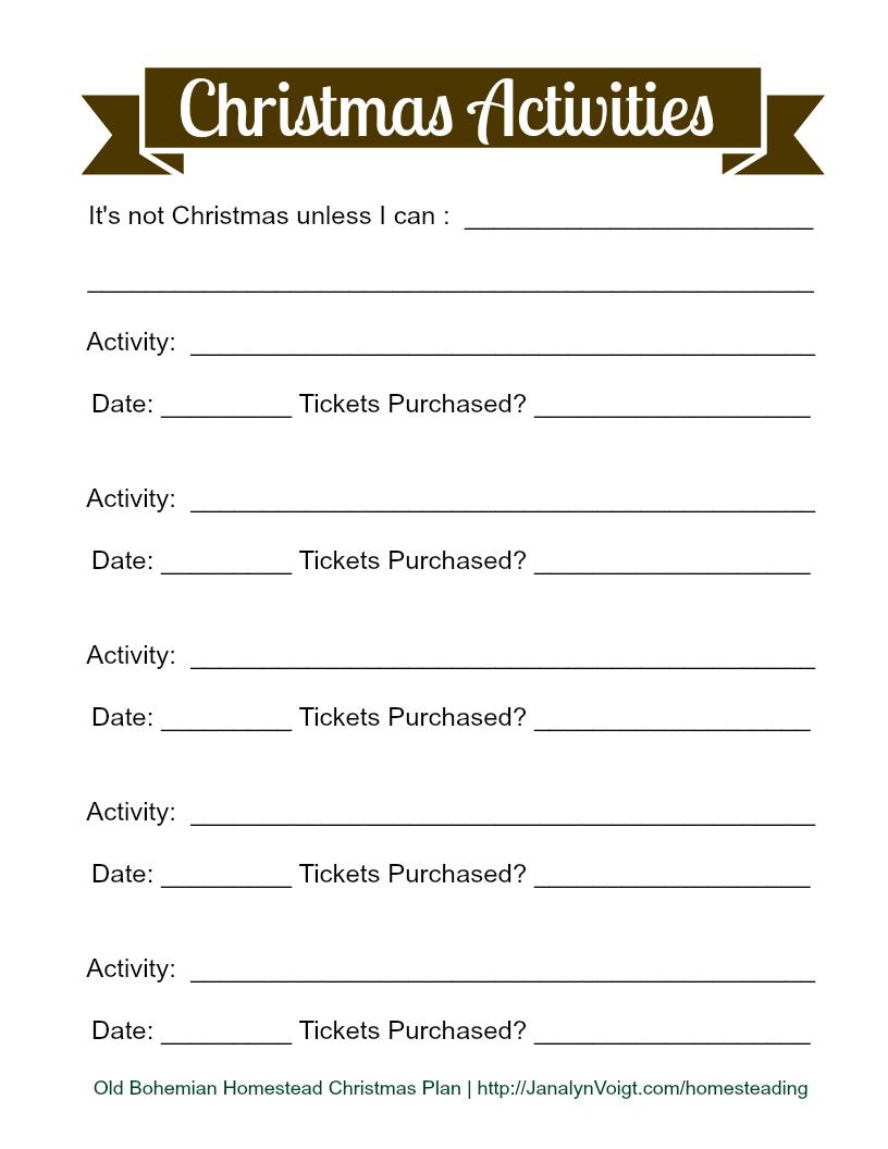 free printable christmas planning