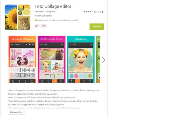 Eine Collage mit der App Photocollage erstellen
