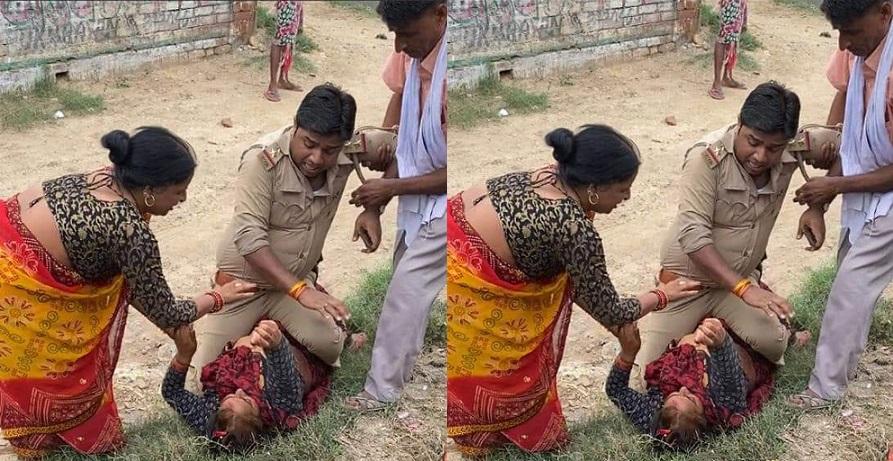 उत्तर प्रदेश पुलिस का नया कारनामा! महिला की छाती पर सवार होकर किया वीरता का प्रदर्शन