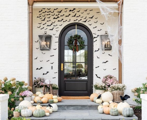 Beautiful Halloween front porch idea with bats - studio mcgee