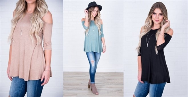Open Shoulder Tunic | S-3XL | 8 Colors
