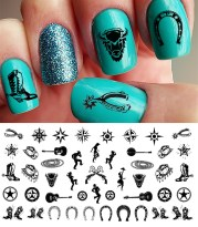country & western nail art decals
