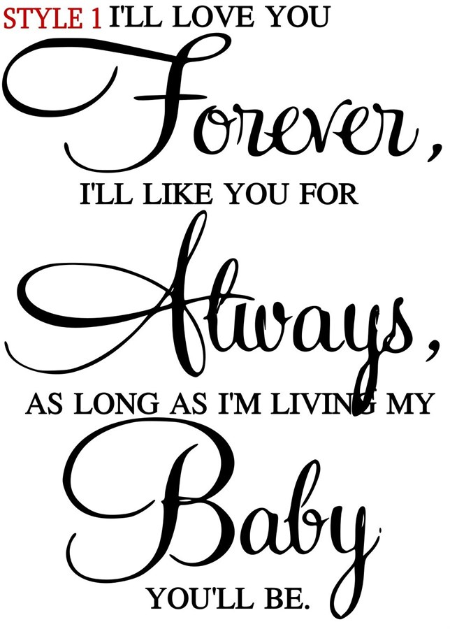 """Download """"I'll love you forever"""" Nursery Vinyl Decal 