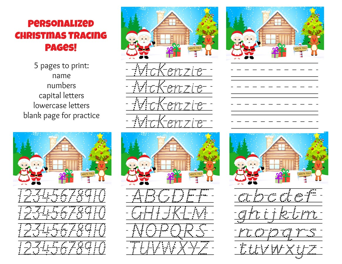 Personalized Holiday Tracing Pages