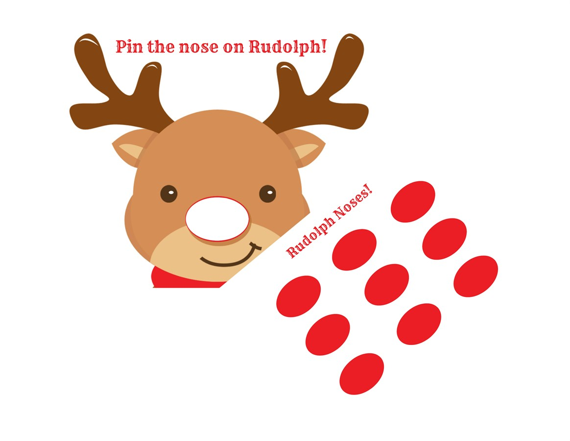 graphic about Pin the Nose on Rudolph Printable referred to as Pin The Nose Rudolph Video game - Calendar year of Fresh new H2o