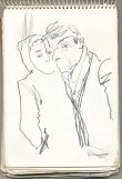 Sketch of lovers at bus stop