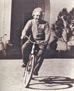 professor einstein on bike