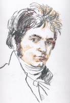 Sketch of Beethoven in 1802, after the Hornemann portrait - Heiligenstadt Testament