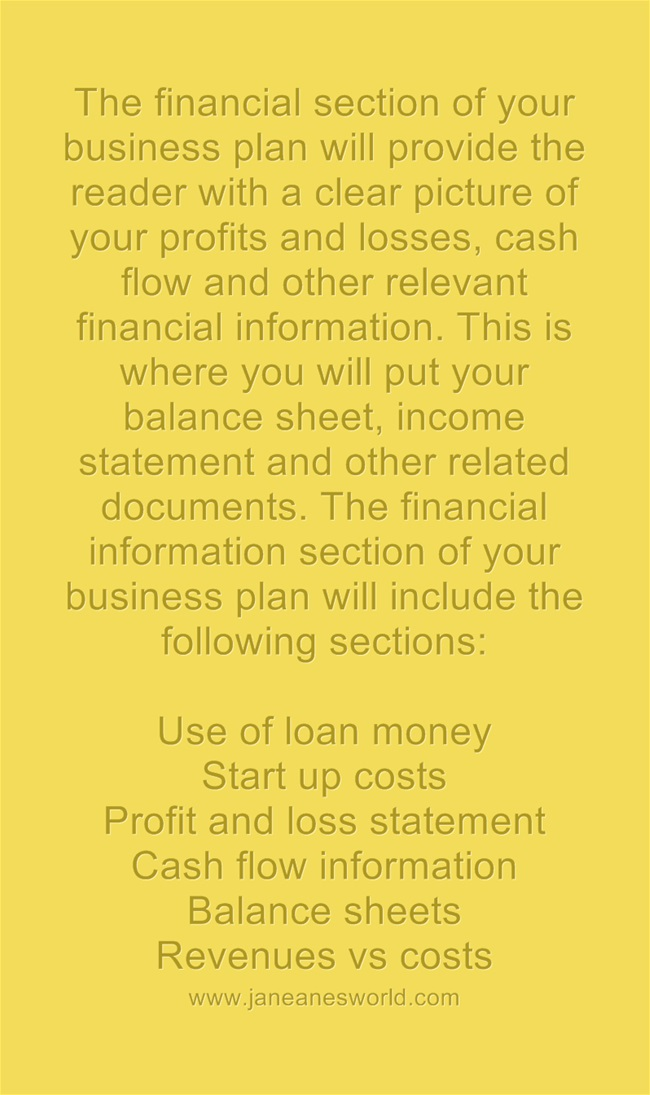 business plan financial section