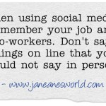 www.janeanesworld.com social media and your job