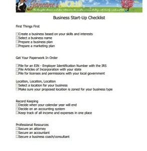 Business Start-Up Checklist