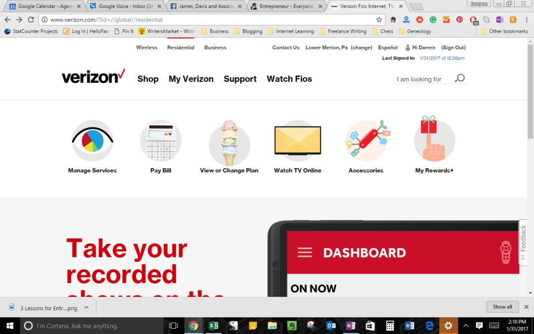 verizon fios and excellent customer service