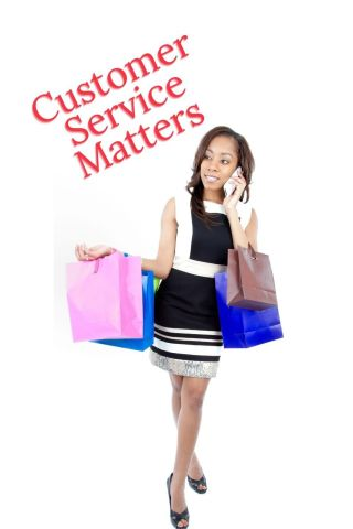 woman shopping with the words customer service matters
