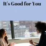"two women sitting at a table near a window in a high rise building and the words ""networking it's good for you"""
