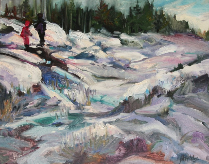 Playing in the Snow, 11 x 14 Oil on Board, Plein Air