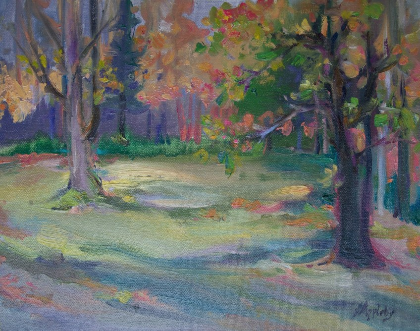 Bear Creek Park, 11 x 14 Oil on Board