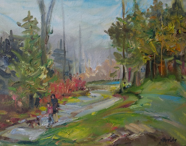 A Walk in the Park 11 x 14 Oil on Canvas Board, Video 2016