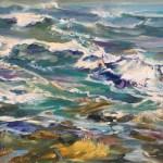West Coast Ocean, 11 x 14 Oil on Board, 2017