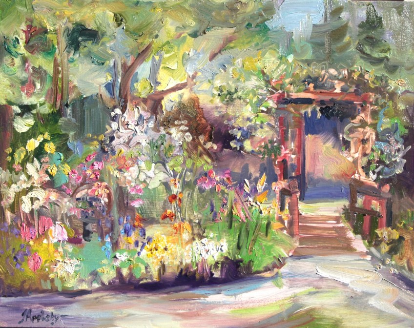 Butterfly Garden, 11x14 Oil on Board, Plein Air, Filmed  2016