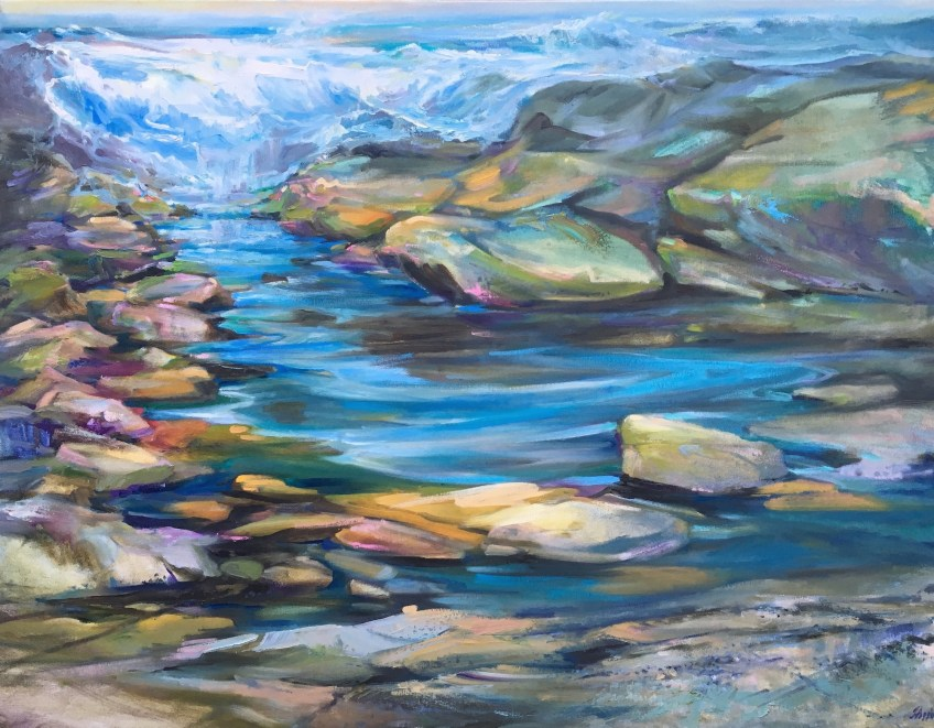 The Ocean Visits 30 x 40 Oil on Canvas