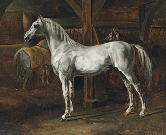 White Horse Standing in a Stable, Gericault