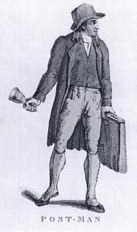 Letter carrier, 1800, with bell and satchel