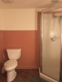 Bathroom was all that orange color so we painted the top of the walls an off white