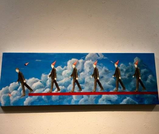"""Lemmings following the leader."" I thought it was appropriate. On display at the art gallery at our polling place."