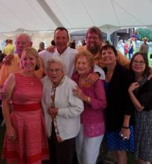Front: cousin TM, Aunt Mary, Aunt Teresa, sister Kathi, me, Back: Uncle George, brother Joe, cousin Robert