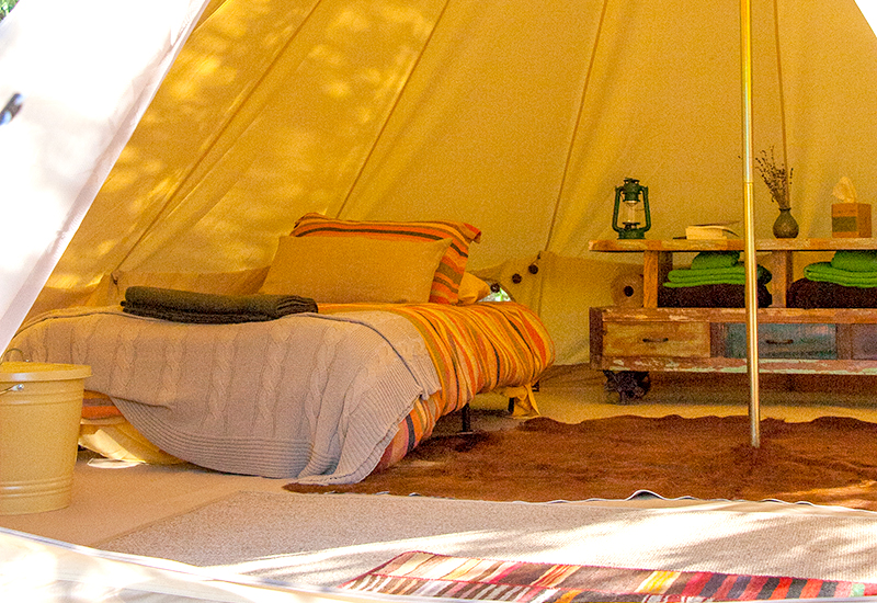 glamping tents at Bell Retreat