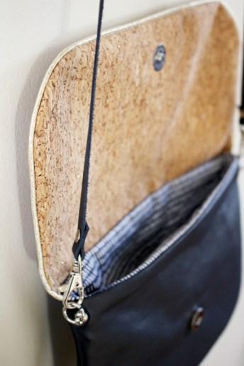sac à main cuir et liège pailleté or