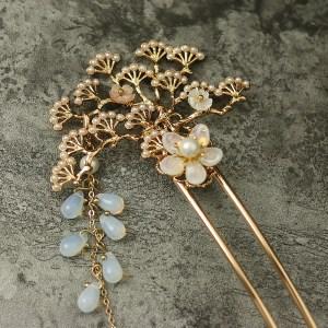 retro pine tree hairpin gold plated copper shell flower tassel hair fork