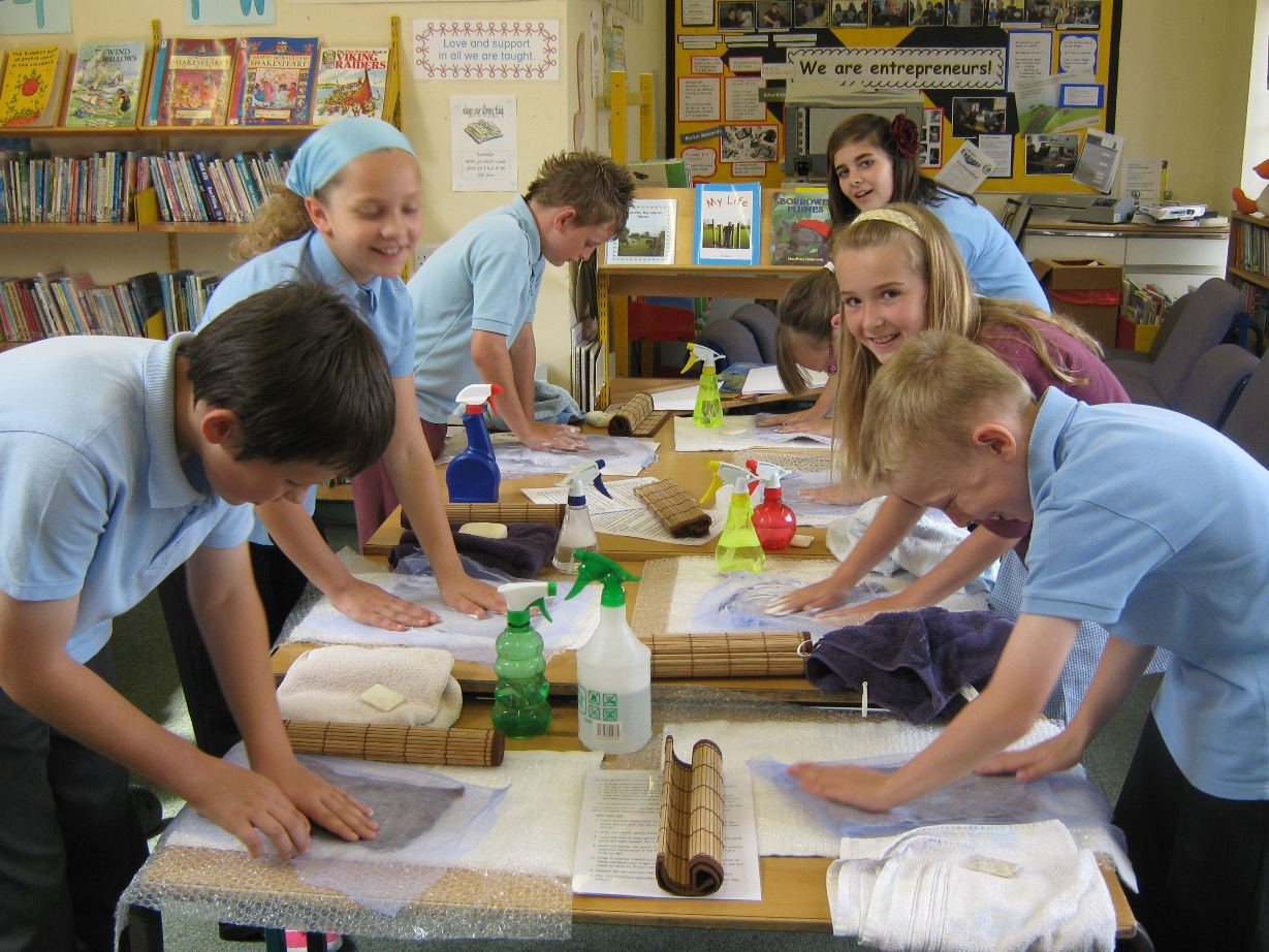 children making felt