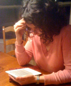 Jane Reading on Her Kindle