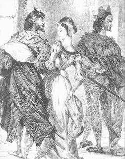 Delacroix, Faust Trying to Seduce Margarete (detail)