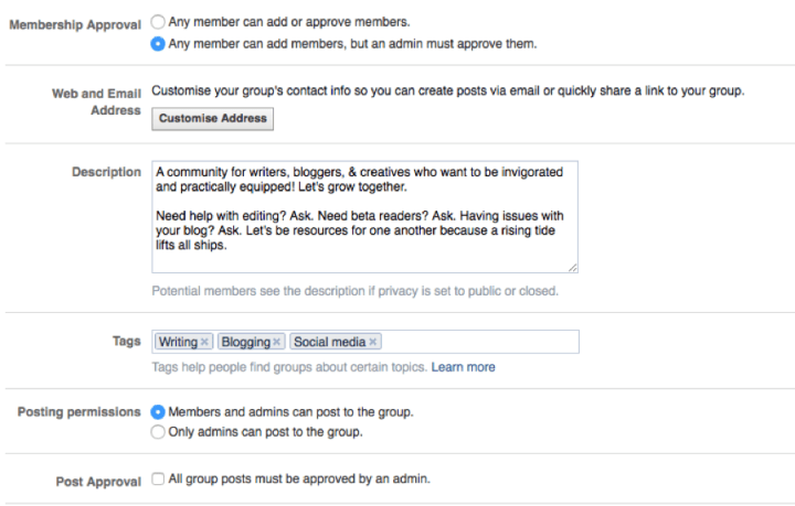 A screenshot of Facebook Group settings options.
