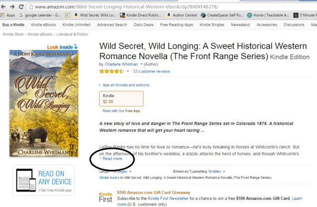 Screen capture of the description for Wild Secret, Wild Longing