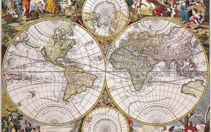 An antique world map.