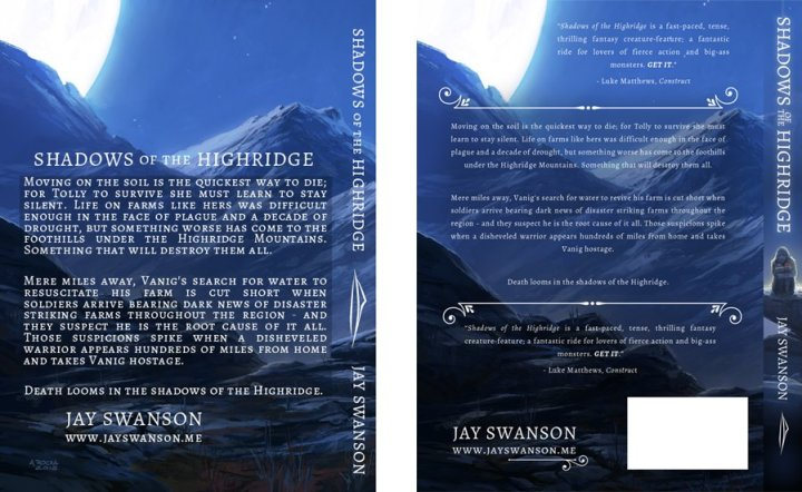 Back cover designs for Shadows of the Highridge.