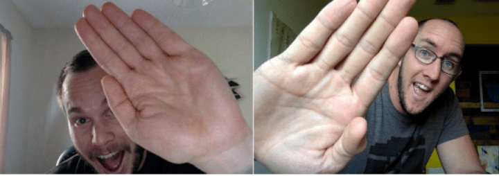 Two pictures, each of a man holding up his hand for a high five.
