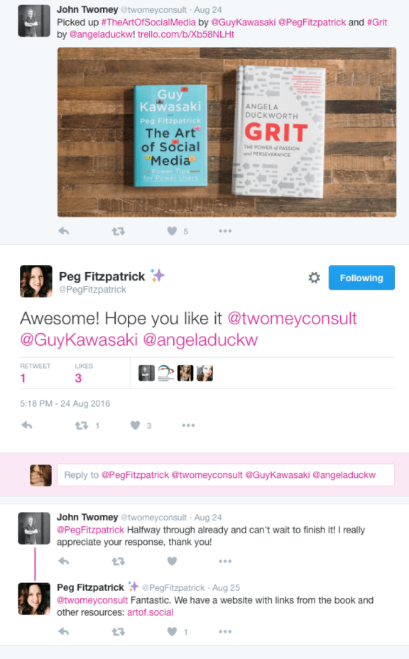 Twitter exchange between Peg Fitzpatrick and John Twomey