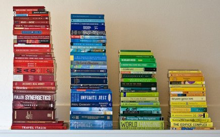 books stacked by color