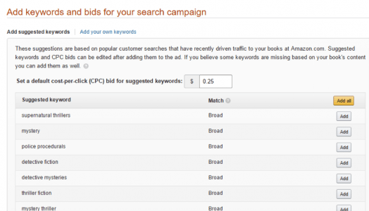 keywords and bids