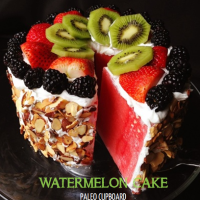 "Paleo Watermelon Cake with Coconut Cream ""Frosting"""