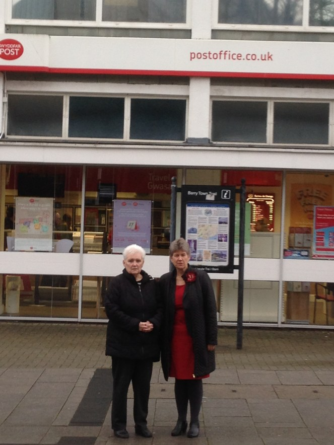 Cllr Pam Drake with Jane Hutt AM outside the Crown Post Office