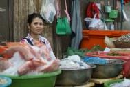 Fischstand auf einem Markt in Siem Reap