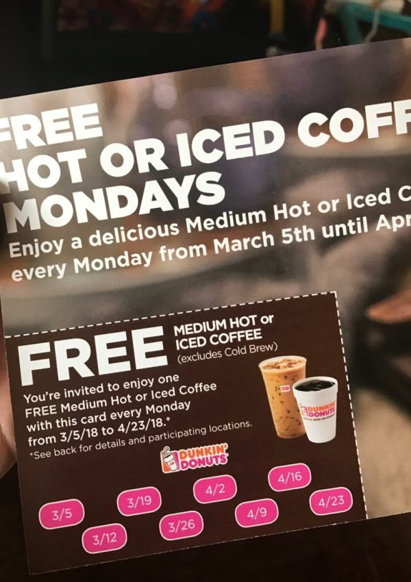 Dunkin' Donuts – 8 FREE Coffees!